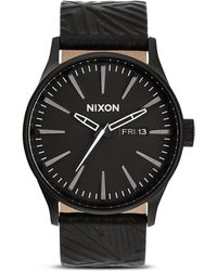 Nixon The Sentry Leather Strap Watch 42mm - Lyst
