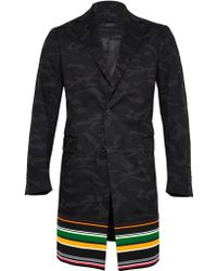 Raf Simons Sterling Ruby Mens Extended Camouflage Wool Blazer Coat with Striped Trim - Lyst