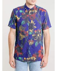 Topman Blue Short Sleeve Sunflower Print Hawaiian Shirt - Lyst