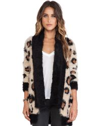 Mink Pink Wild Jungle Fuzzy Knit Cardigan - Lyst