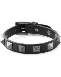 Valentino Black 'Rockstud' Bracelet - Lyst