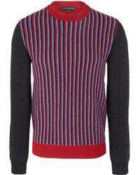 Jonathan Saunders Red Multi Stripe Panel Wool Jumper - Lyst