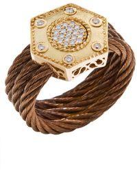 Charriol Women'S Celtique Rose 18K Gold And Bronze-Tone Diamond .17Tcw Ring - Lyst