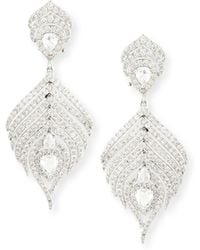 Sutra - 18k White Gold Diamond Feather Earrings - Lyst