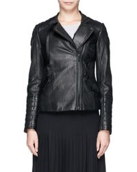 Vince Detachable Hood Lamb Leather Biker Jacket - Lyst