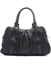 Burberry Preowned Prorsum Black Pebbled Leather Knight Large Shoulder Bag - Lyst