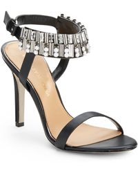 Badgley Mischka Kallan Rhinestone Ankle Strap Leather Sandals - Lyst