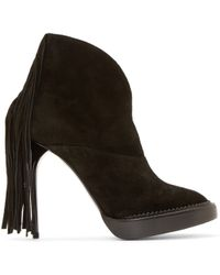 Burberry Prorsum | Black Suede Fringed Ankle Boots | Lyst