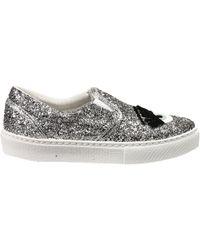 Chiara Ferragni Silver Sneakers Woman - Lyst