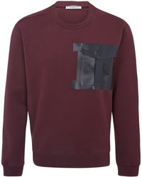 Valentino Burgundy Leather Pocket Sweatshirt - Lyst