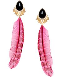 Asos Jewel Feather Earrings - Lyst