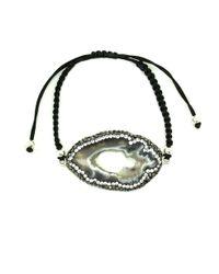 Soru Jewellery - Agate Slice Cord Bracelet Silver - Lyst