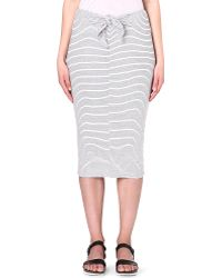 James Perse Tiefront Striped Skirt White - Lyst