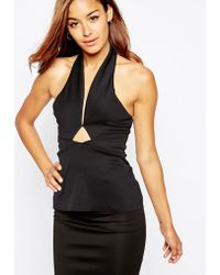 Asos Top With Halter Neck Cut Out In Smart Fabric - Lyst