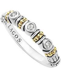 Lagos | Three Diamond Stacking Ring | Lyst
