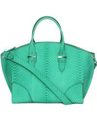 Alexander McQueen Legend Mini Python Satchel green - Lyst