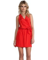 Greylin Karris Faux Wrap Silk Dress in Orange - Lyst