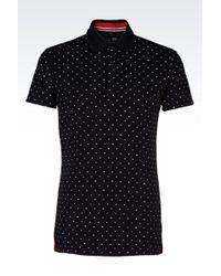 Armani Jeans Printed Cotton-Piqué Polo Shirt - For Men - Lyst