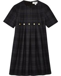Eudon Choi Navy Check Clarence Dress - Lyst