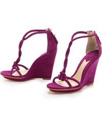B Brian Atwood - Priscilla Twist Strap Wedge Sandals - Lyst