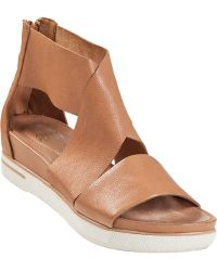 Eileen Fisher Sport Platform Sandal Camel Leather - Lyst