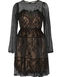 Notte By Marchesa Silk Blend Chiffon Fil Coupé and Lace Dress - Lyst
