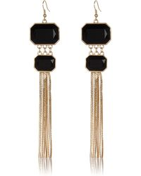 River Island Black Double Stone Chain Tassel Earrings - Lyst
