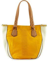 orYANY Lyssie Round Leather Tote Bag orange - Lyst