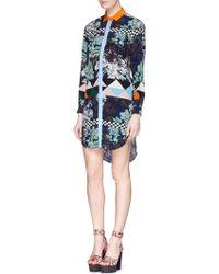 MSGM Mixed Print Silk Chiffon Shirt Dress - Lyst