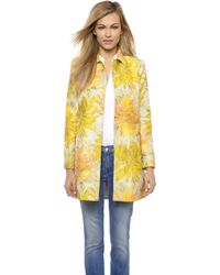 Alice + Olivia Alice + Olivia Laney A Line Coat - Yellow Multi - Lyst