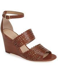 Tory Burch Leather Wedge Sandal - Lyst