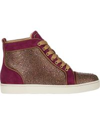 Christian Louboutin Strassembellished Louis Woman Flat Sneakers - Lyst