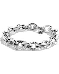 David Yurman - Oval Large Link Bracelet With Diamonds - Lyst