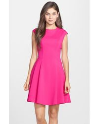 Eliza J Cap Sleeve Crepe Fit & Flare Dress - Lyst