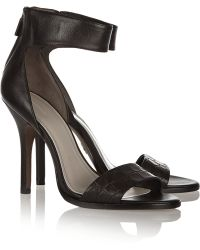 Pour La Victoire Yara Croc-effect Leather Sandals - Lyst