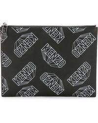 Kenzo Rubberized Printed Flat Clutch - Black - Lyst