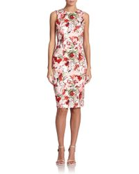 Carolina Herrera Bouquet Floral Sheath - Lyst