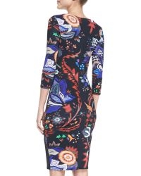 Roberto Cavalli Abstract Floralprint Boatneck Sheath Dress - Lyst