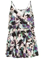 Topshop Poppy Print Wrap Playsuit - Lyst