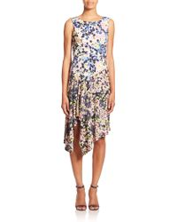 BCBGMAXAZRIA Ezra Draped Floral-Print Dress multicolor - Lyst