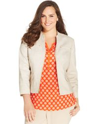 Jones New York Collection Plus Size Zipfront Blazer - Lyst