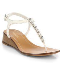 Prada Swarovski Crystal Leather Wedge Thong Sandals - Lyst