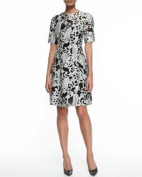 Lela Rose Elbow-sleeve Jacquard Dress - Lyst