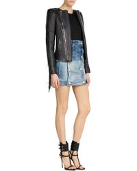 Balmain Leather Jacket With Fringe - Lyst