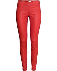 H&M Red Leather Trousers - Lyst