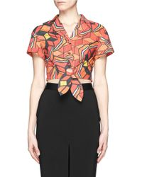 Chictopia - Graphic Print Cropped Shirt - Lyst