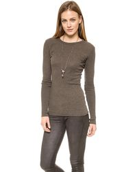 Enza Costa Cashmere Cuffed Crew Top  Black - Lyst