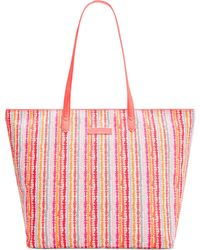 Vera Bradley Faux Leather Large Tote - Lyst
