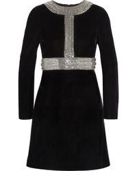 Saint Laurent Chain Embellished Velvet Mini Dress - Lyst