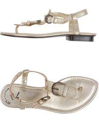 Riviera Silver Thong Sandal - Lyst